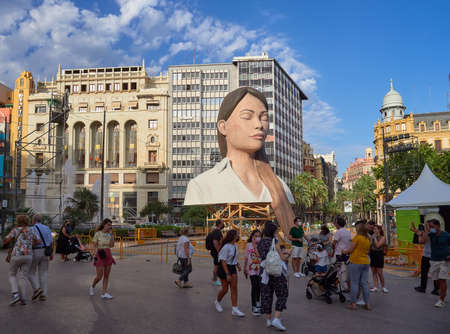 Valencia, Spain, August 31, 2021. Valencia Fallas Festival. City council falla, called, the meditator. day of the assembly of the sculptures called plantá. Many people visit the place.