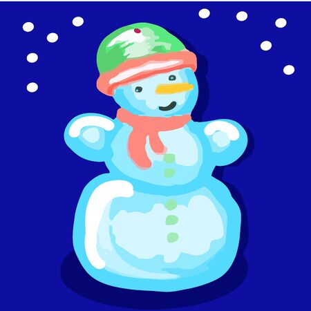 Snowman in a hat and scarf on a blue background.