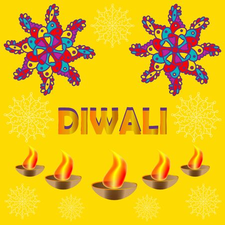 Happy Diwali. Background with the graphic of Indian Rangoli, fireworks and oil lamp.
