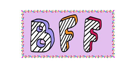 BFF Best friends forever - poster with handwritten text - striped letters on a lilac background. Vector lettering illustration