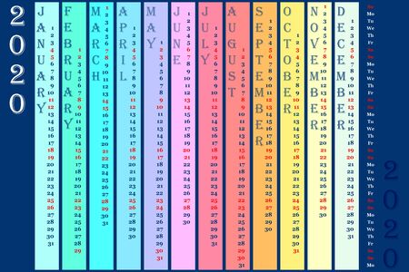 Rainbow wall calendar 2020 with vertical months. Sunday and saturday is highlighted red. Vector 10 for web, print, banner, poster Illusztráció