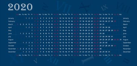 Wall calendar of 2020 year on deep blue background with Roman numerals. Sundays and saturdays is highlighted red. Vector editable template. Horizontal poster