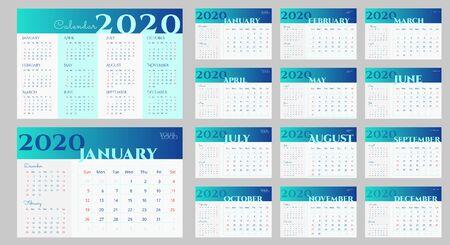 Projekt kalendarza na biurko 2020 w kolorze niebieskim i białym. Tydzień zaczyna się w niedzielę. Bieżący miesiąc z poprzednimi i następnymi. Prosty szablon kalendarza z miejscem na logo, stronę internetową, wektor