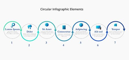 Seven circular arrows with icons, place for text are located in a horizontal row. Concept of 7 steps or stages of progressive development. Vector 10 EPS. Simple infographic template Vector Illustration