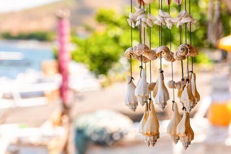 Wall decor made of shells. Handmade wind chimes of seashells. Bali, Indonesia