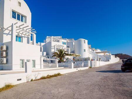 Traditional white houses on Santorini island. Santorini, Cyclades, Greece.