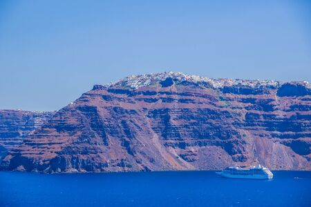 Santorini view from volcano, Cyclades, Greece.