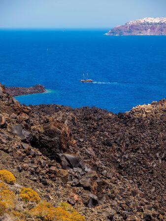 Santorini view from volcano, Cyclades, Greece. Stok Fotoğraf - 148181804