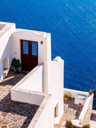 Traditional santorini island architecture and amazing sea view. Santorini, Cyclades, Greece.