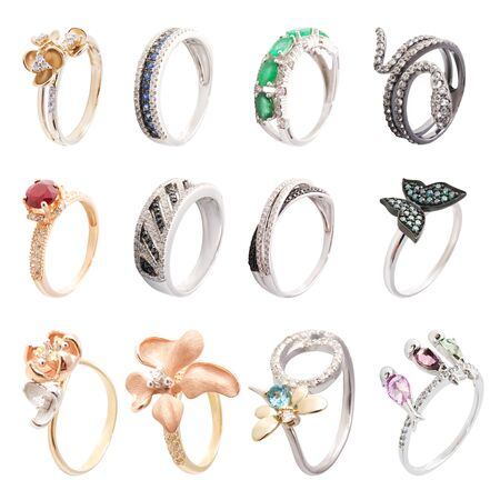 Set of rings with gems isolated on white background