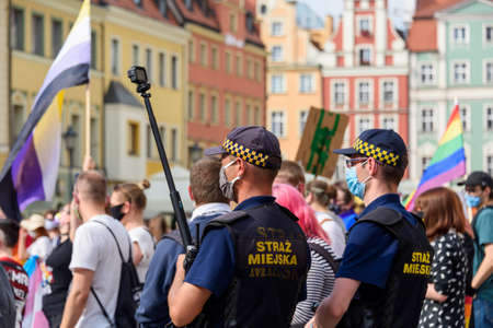Wroclaw, Poland, 19.06.2020 - polish LGBT peaceful march for equality and policeman make video on it