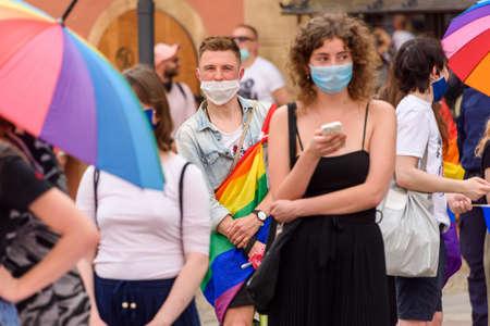 Wroclaw, Poland, 19.06.2020 - polish LGBT peaceful march for equality