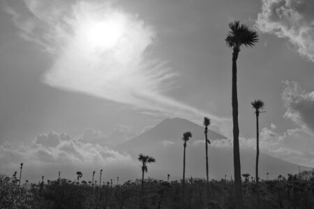 Agung volcano moody landscape in east Bali, Indonesia. Black and white photo