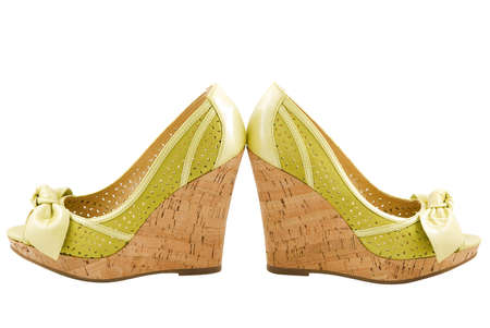 stylish womens leather green summer wedge shoes, isolated on white background Reklamní fotografie