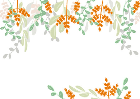 Vector framing of green branches and leaves on white. For registration of invitation cards, printed paper products