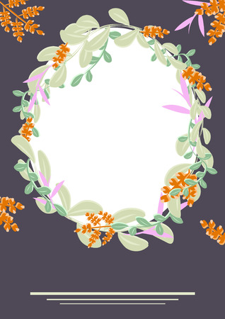 Round frame of green and orange branches and leaves. Template for postcard, Billboard, celebration decoration, vector