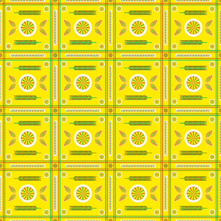 Seamless vector pattern in Russian Slavic folk style for Wallpaper, textile, paper, cardboard and web pages decoration on yellow background