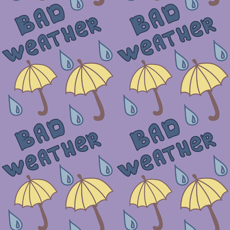 bad weather: Bad weather, Seamless pattern with umbrellas and raindrops Illustration