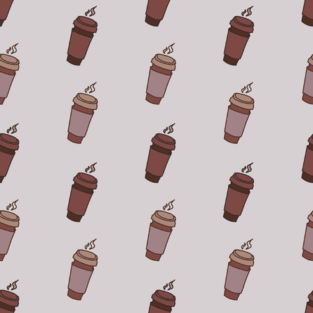 away travel: Good coffe, seamless pattern with a set of take-away coffee tumblers Illustration