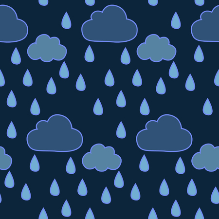 Its raining, Seamless pattern with with abstract clouds and raindrops