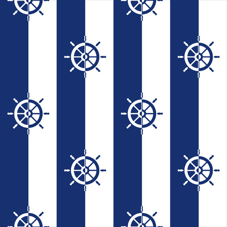 breton: Sailor stripes, Breton stripes, Seamless background with silhouettes of ships wheels Illustration
