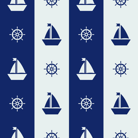 sailing ships: Maritime mood, Seamless pattern with sailor stripes and silhouettes of sailing ships and steering wheels