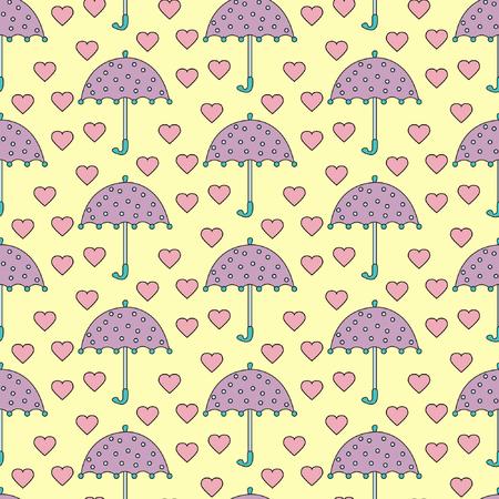 umbrella cartoon: Romantic rain, Seamless sweet pattern with cartoon umbrellas and little hearts Illustration