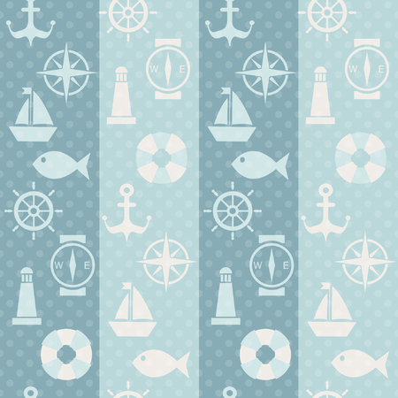 wind wheel: Maritime mood, Seamless pattern with silhouetes of nautical symbols