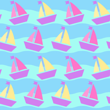 maritime: Maritime mood, Seamless pattern with soft-colored sailfishes and waves