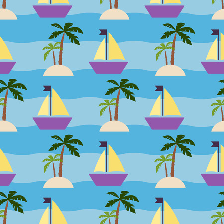 tropics: Cruise in tropics, Seamless vacation pattern with with palm trees and ships