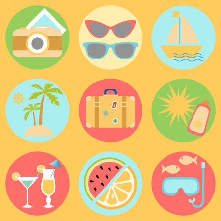watermelon boat: Vacation icons, the set of icons with vacation and travel symbols Illustration