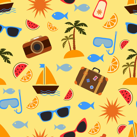 watermelon boat: Summer vacation and travel, Seamless summer pattern with symbols of resort and travel