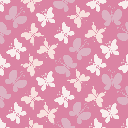 soft colors: Butterflies, Seamless pattern with silhouettes of butterflies, soft colors