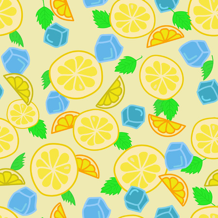 fizz: Lemonade, Seamless summer pattern with hand drawn pieces of lemon, mint leaves and ice cubes Illustration
