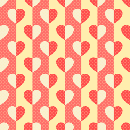 bicolor: Hearts and stripes, Seamless romantic background with bicolor hearts