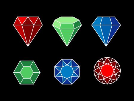 sapphire gemstone: Set of gemstones, The set of colorful gemstones, flat design, different shapes Illustration