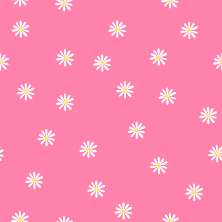 pink wallpaper: Pretty camomile, Seamless pattern with abstract flowers of camomile Illustration