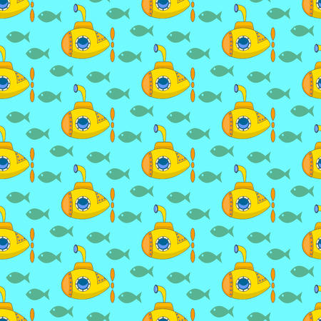 periscope: Yellow submarine, Seamless colorful pattern with funny cartoon submarines