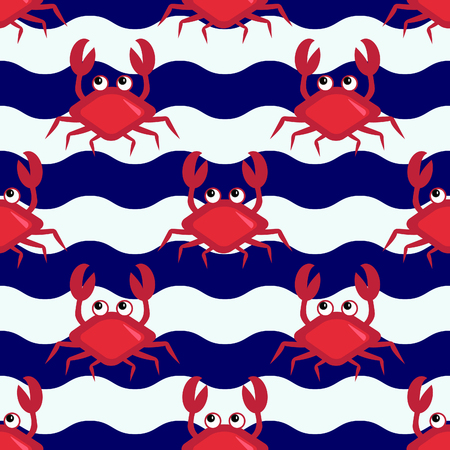 Happy crabs, Seamless nautical pattern with cute crabs and striped background
