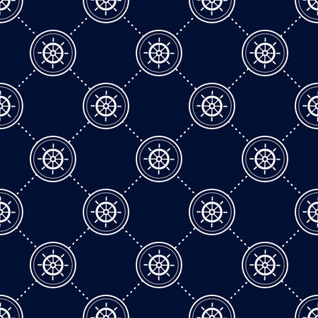 moo: Maritime moo, Seamless nautical pattern with icons, old ship steering wheels