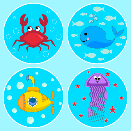 cartoon submarine: Underwater icons, The set of colorful icons with cartoon heroes: crab, whale, jellyfish and submarine