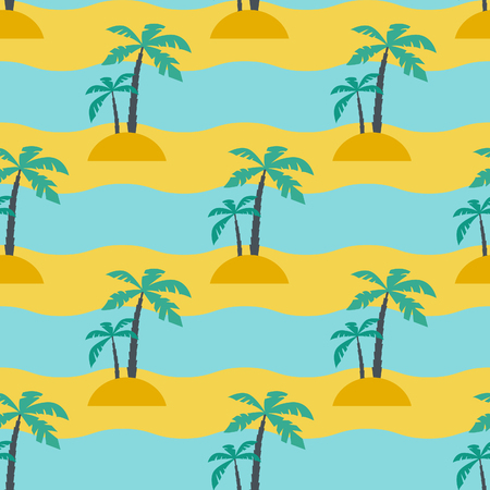 tree silhouettes: Palms and sea, Seamless vacation pattern with sea waves and abstract palms
