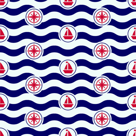 Maritime mood, Seamless nautical pattern with icons and waves, boats and roses of the wind, sailor stripes