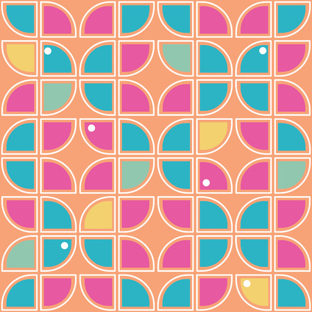 60s: Retro background, Seamless geometric pattern inspired by the style of 60s Illustration