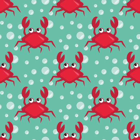 crabs: Funny crabs, Seamless underwater pattern with cartoon crabs, sea life