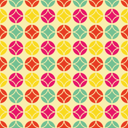 60s: Colorful vintage pattern, Seamless vector background inspired by retro style and 60s textile design Illustration