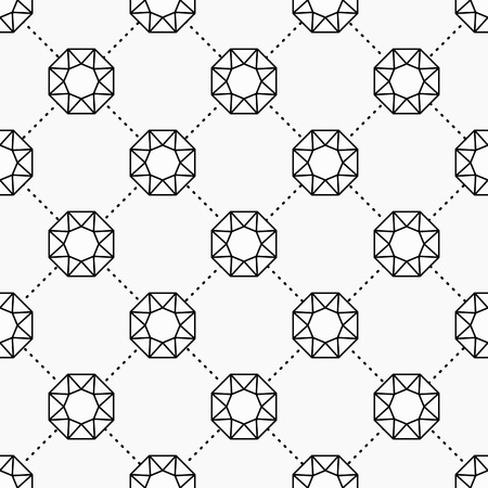 gemstone: Gemstone pattern, Seamless vector background with diamonds, monochrome repeating pattern