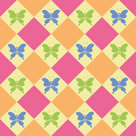 background pattern: Colorful butterflies, Seamless vector pattern, candy colors, spring theme