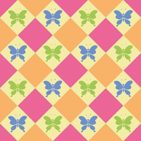 papillon dessin: papillons colorés, modèle vectoriel sans soudure, couleurs de bonbons, le thème du printemps
