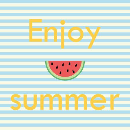 breton: Enjoy summer, Vector card with typography, Breton stripes, watermelon Illustration